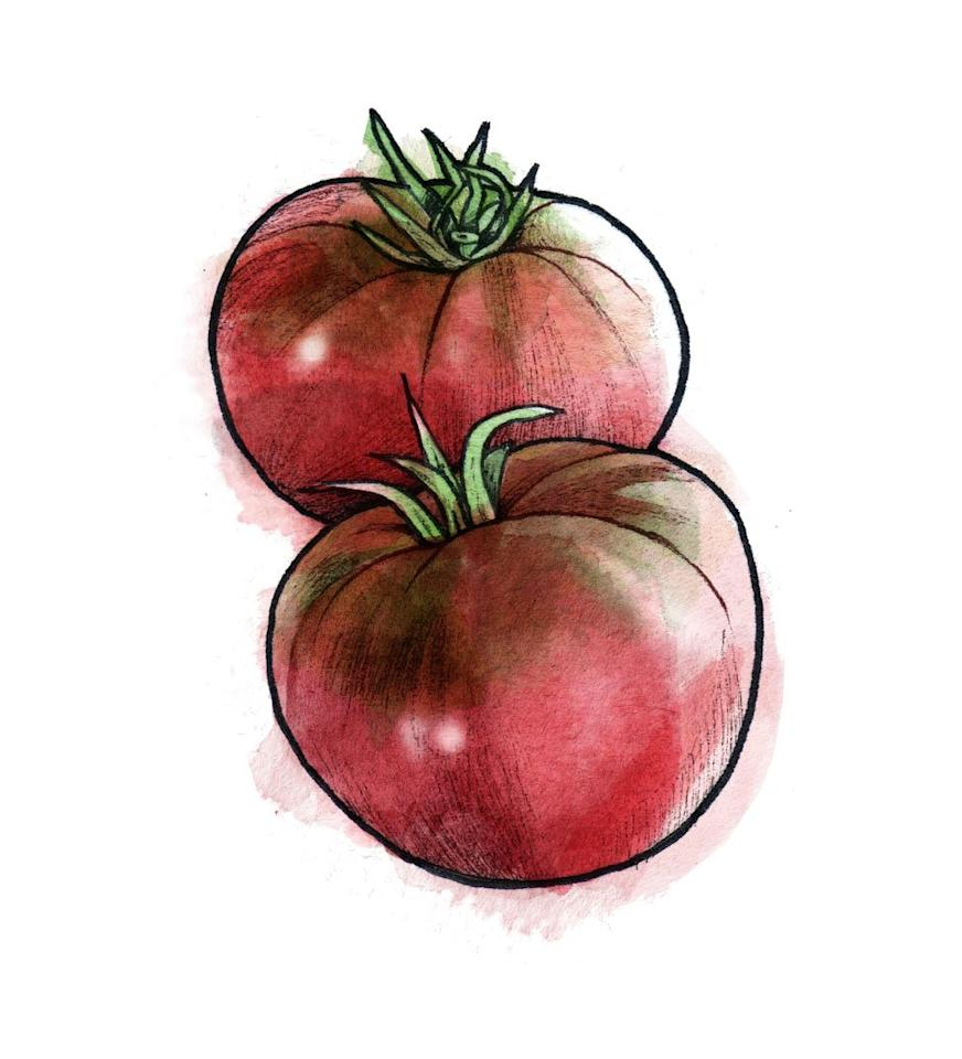 "<p>This heirloom tomato is prized for its rich color and concentrated sweetness. The medium fruit is a deep reddish pink with green ""shoulders"" (the area around the stem). Slice, drizzle with olive oil, and top with flaky salt.</p> <p><strong>Recipe to try: <a href=""https://www.realsimple.com/food-recipes/browse-all-recipes/tomatoes-with-ricotta-and-herbs"" target=""_blank"">Tomatoes With Ricotta and Herbs</a></strong></p>"