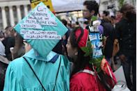 <p>Protesters rally against Supreme Court of the United States decision to uphold the travel ban in Foley Square, New York City on June 26, 2018. (Photo: Mohammed Elshamy/Anadolu Agency/Getty Images) </p>