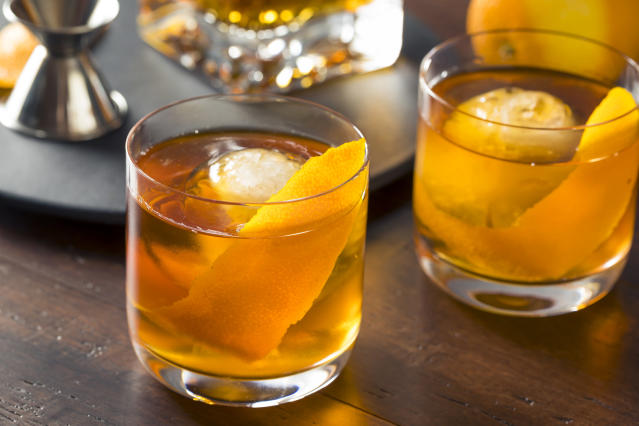 Take your cocktail of choice to the next level with giant, spherical ice cubes. (Getty Images)