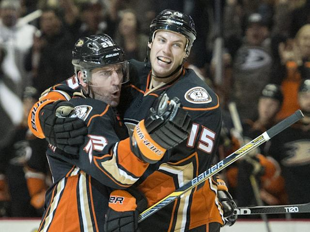 The Ducks' Francois Beauchemin, left, celebrates his goal with Ryan Getzlaf during a game in Los Angeles on Wednesday night Jan. 7, 2014. (AP Photo/The Orange County Register, Kyusung Gong)