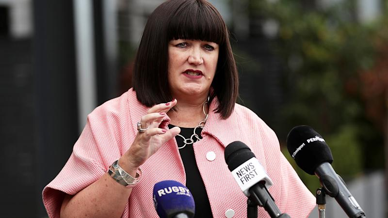 Raelene Castle, pictured here speaking to the media in Sydney at Rugby Australia headquarters.
