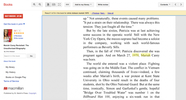 "A page from ""Mariah Carey Revisited: The Unauthorized Biography"" by Chris Nickson. (Screenshot: Google Books)"