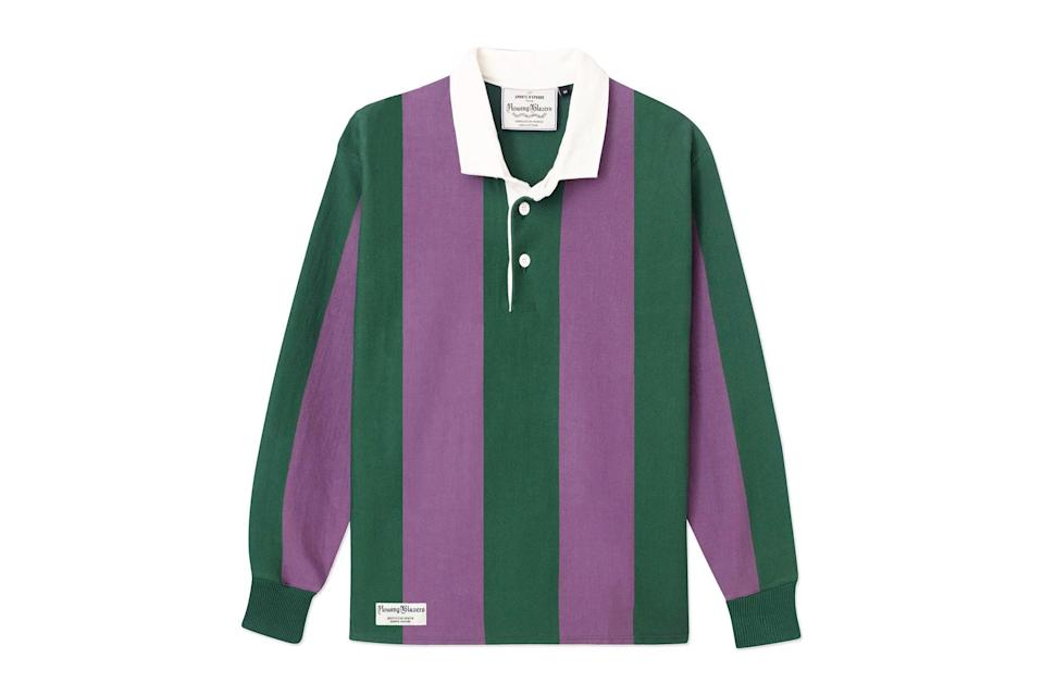 """This preppy-cool shirt only looks cooler with age and use. Rowing Blazers' heavyweight model is cut beefy and boxy through the body, just like the one your pops used to wear.<br> <br> <em>Rowing Blazers vertical stripe rugby</em> $195, Rowing Blazers. <a href=""""https://rowingblazers.com/collections/rugby/products/super-heavyweight-rugby-vertical-stripe-rugby-green-and-purple"""" rel=""""nofollow noopener"""" target=""""_blank"""" data-ylk=""""slk:Get it now!"""" class=""""link rapid-noclick-resp"""">Get it now!</a>"""