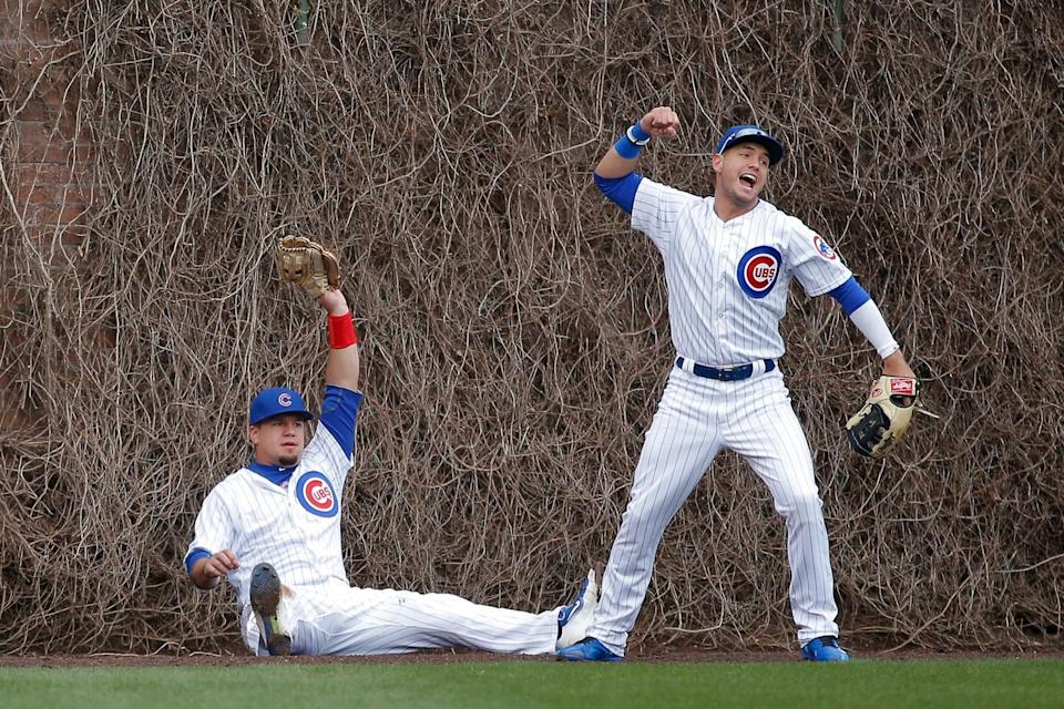 Kyle Schwarber appeared to make a fantastic catch in the Wrigley ivy. (Getty Images)