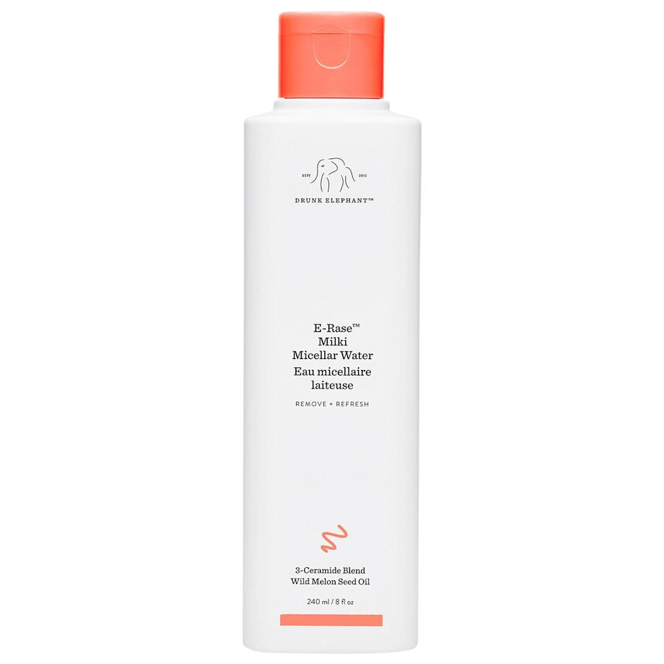 """<h3>Drunk Elephant E-Rase Milki Micellar Water</h3> <br>""""My personal strategy for avoiding both COVID-19 and the oppressive NYC heat is to park myself in front of the A/C with a book and emerge only when absolutely necessary, but the 70-pound German Shepherd/Lab mix with whom I share my life has other plans. Of course, <em>she</em> doesn't have to worry about maskne, which — in addition to everything else in the world — has made its way to my laundry list of anxieties. I've been looking for the perfect product to cleanse the lower half of my face after a three-mile, 90-degree power walk in a mask without having to repeat my entire skin-care routine, and this micellar solution is it. The fatty acids and plant oils feel incredibly soothing while also removing sweaty buildup and debris, and the milky texture is nice and cooling. I just smooth it on with a cotton pad, spritz on my beloved <a href=""""https://www.refinery29.com/en-us/spring-skin-routine#slide-9"""" rel=""""nofollow noopener"""" target=""""_blank"""" data-ylk=""""slk:Tower 28 facial spray"""" class=""""link rapid-noclick-resp"""">Tower 28 facial spray</a>, reapply sunscreen, and repeat as needed."""" — Rachel Krause, Deputy Beauty Director<br><br><strong>Drunk Elephant</strong> E-Rase Milki Micellar Water, $, available at <a href=""""https://go.skimresources.com/?id=30283X879131&url=https%3A%2F%2Fwww.sephora.com%2Fproduct%2Fdrunk-elephant-e-rase-milki-micellar-water-P460515"""" rel=""""nofollow noopener"""" target=""""_blank"""" data-ylk=""""slk:Sephora"""" class=""""link rapid-noclick-resp"""">Sephora</a><br>"""