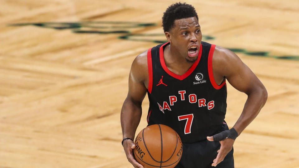 BOSTON, MA - MARCH 04:  Kyle Lowry #7 of the Toronto Raptors shouts against the Boston Celtics at TD Garden on March 4, 2021 in Boston, Massachusetts. NOTE TO USER: User expressly acknowledges and agrees that, against downloading and or using this photograph, User is consenting to the terms and conditions of the Getty Images License Agreement. (Photo against Adam Glanzman/Getty Images)