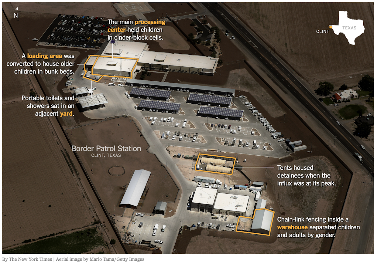 An overview of the Border Patrol Station in Clint, Texas, used to house migrant children.