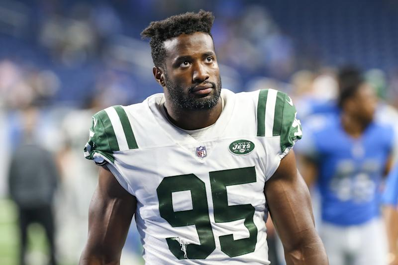 DETROIT, MI - AUGUST 19: New York Jets linebacker Josh Martin (95) walks off of the field at the conclusion of a preseason game between the New York Jets and the Detroit Lions on August 19, 2017 at Ford Field in Detroit, Michigan. (Photo by Scott W. Grau/Icon Sportswire via Getty Images)