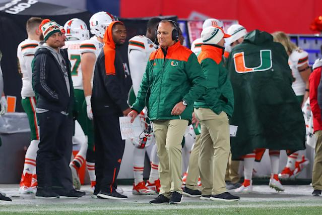 The Pinstripe Bowl proved to be Mark Richt's last game as head coach at Miami. (Photo by Rich Graessle/Icon Sportswire via Getty Images)