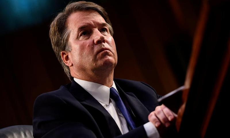 Brett Kavanaugh looks on during his Senate judiciary committee confirmation hearing.