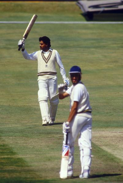 Dilip Vengsarkar reaches 100, England v India, 2nd  Test, Headingley, Jun 86.  (Photo by Patrick Eagar/Patrick Eagar Collection via Getty Images)