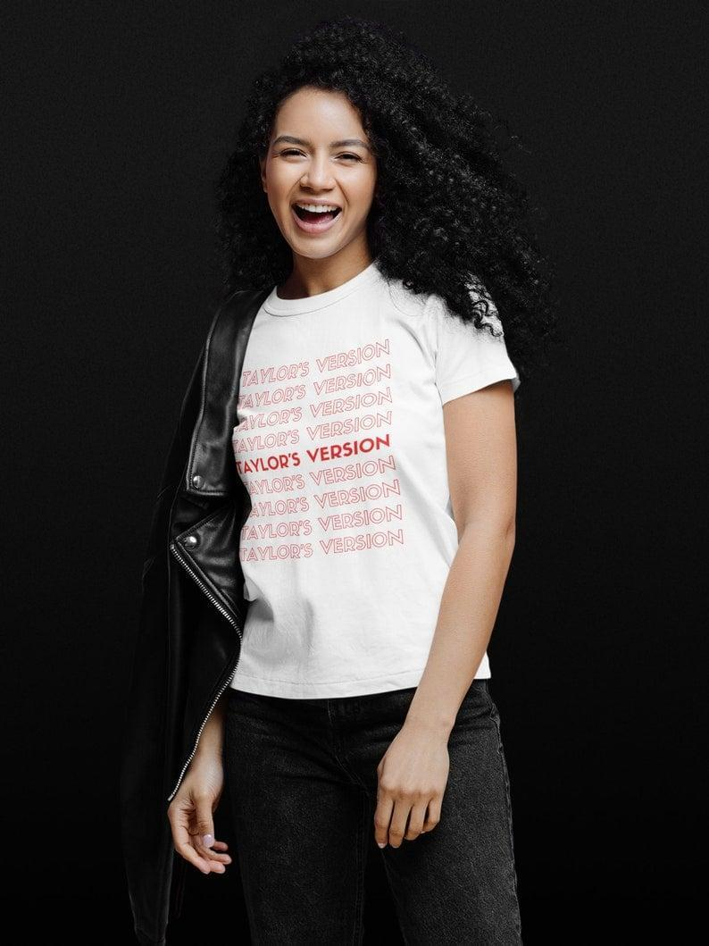 <p>We're all about the <span>Taylor's Version T-Shirt</span> ($22). The simple yet statement-making t-shirt says it all. You can choose between blue, black, biege, pink, or white. </p>