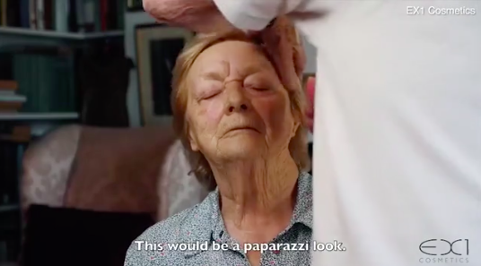 """In the tutorial, the 84-year-old gives lessons in achieving the """"papparazi look"""" [Photo: EX1 Cosmetics"""
