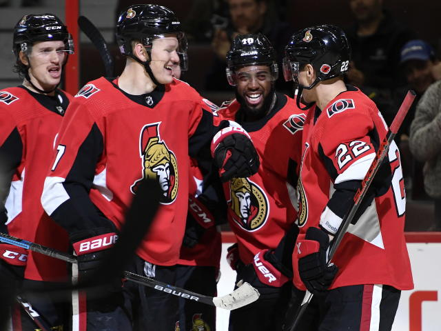 Ottawa Senators left wing Anthony Duclair (10) celebrates his goal against the Los Angeles Kings during second-period NHL hockey game action in Ottawa, Ontario, Thursday, Nov. 7, 2019. (Justin Tang/The Canadian Press via AP)