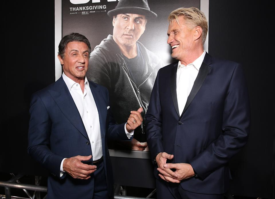 WESTWOOD, CA - NOVEMBER 19:  Sylvester Stallone and Dolph Lundgren attend the premiere of Warner Bros. Pictures'