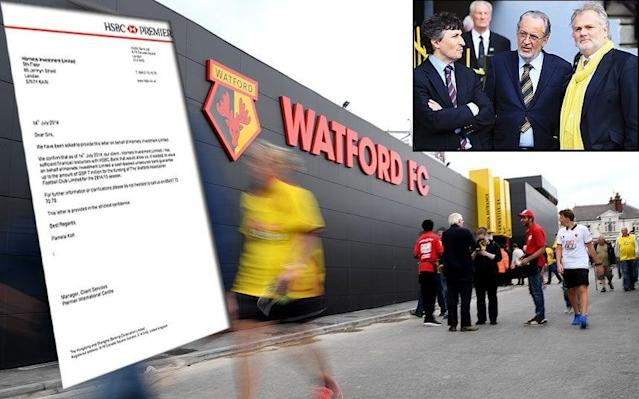 "A former chairman of Watford has been banned for life from the English game after admitting supplying falsified financial information to the football authorities. Raffaele Riva has been punished for submitting a forged banking letter - the existence of which was exclusively revealed by the Daily Telegraph almost two years ago - when Gino Pozzo became the club's sole owner. The faked filing, provided as proof Pozzo had enough funds to bankroll Watford, allowed the Italian to take full control of the Hertfordshire club. The Premier League side were fined almost £4 million in August after admitting providing a letter fabricated to appear as though it was written by HSBC, one of the world's largest banks, to the Football League (now EFL) shortly before their 2014-15 promotion-winning campaign. A copy of the document was obtained by the Telegraph, which it passed on both to HSBC and the police after alerting the EFL, sparking an internal investigation by Watford and a 10-month inquiry by the governing body. The club pleaded guilty to filing the letter and were fined £3.95m - the largest ever EFL financial penalty - by a disciplinary commission and ordered to pay an additional £350,000 in costs. The fine would have been even larger - £5.75m - but it was reduced after Watford were deemed to have fully cooperated with an independent investigation and had met their financial commitments in full. Giampaolo Pozzo (centre) and son Gino (left) took over after the letter was sent Credit: GETTY IMAGES Separate action was launched against Riva, who resigned as the club's executive chairman a week after the Telegraph revealed he had secured the faked letter. As well as banning him for life, a disciplinary commission fined him £50,000 and ordered him to pay £65,000 towards the costs of the EFL, ruling he would be unable to seek a review of his suspension until at least November 2, 2026. The EFL said in a statement: ""Mr Riva accepts that his actions have had a serious impact on the integrity of the EFL and that they have caused embarrassment to the EFL and the club, which Mr Riva very much regrets."" The earlier inquiry found no evidence Pozzo himself had any knowledge a forgery had been obtained or submitted on his behalf, despite it allowing him to succeed his father, Giampaolo, as the club's ultimate beneficial owner in the summer of 2014. The fabricated document stated that the holding company which owns Watford, Hornets Investment Limited, had sufficient financial resources with the bank for it to issue ""a cash-backed unsecured bank guarantee up to the amount of £7 million"" during the 2014-15 season. The letter was headed HSBC 'Premier', an arm of the bank that did not even deal with corporate customers, while a source told the Telegraph that Hornets Investment had never been a customer of HSBC. The faked document was one of two obtained by the Telegraph dated a week apart and worded almost identically. Riva secured the letters from an associate, who, according to information received by the Telegraph, denied any intention for them to be used in any formal filing. A week before resigning, Riva issued a statement in which he said he said he had no knowledge he had been provided with a forgery until informed by the Telegraph. Watford would not comment on precisely who else at the club saw the document before it was submitted, and accepted by the Football League, amid serious questions about exactly what checks took place to validate it. Before the fake HSBC letter was filed, Watford submitted a two-year-old document from Credit Suisse – with which Hornets Investment did bank – that was rejected by the league as proof of funds because it was out of date. Gino Pozzo was aware of the knockback, as was the club's chief executive Scott Duxbury - who succeeded Riva as chairman - although the inquiry found no evidence he or anyone else at the club had any knowledge of the forgery. The inquiry also found no evidence Pozzo did not have sufficient funds to satisfy the league over the change of ownership, with Watford deemed to have obtained no competitive advantage by submitting a falsified document. No evidence was found of other irregularities in Watford's submissions to the EFL. There is no known precedent in professional English football for the filing of forged documents, although Chesterfield were docked nine points in 2001 for financial irregularities, including falsifying gate receipts and giving a player two contracts."