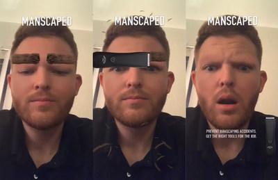 Manscaped's AR Lens on Snapchat, which displays what users look like when they accidentally shave off their eyebrows.