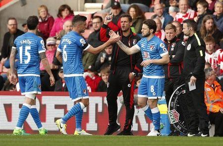 Bournemouth's Harry Arter comes on as a substitute to replace Andrew Surman