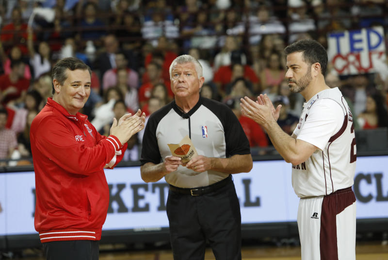 Ted Cruz and Jimmy Kimmel with ref
