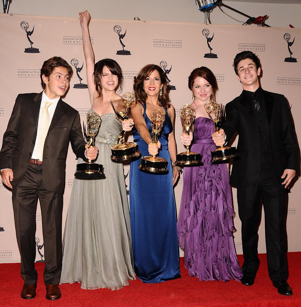 """<p>Selena and her <b>Wizards of <span class=""""nofilter"""">Waverly</span> Place</b> costars celebrated their outstanding children's program win at the Creative Emmy Awards.</p>"""