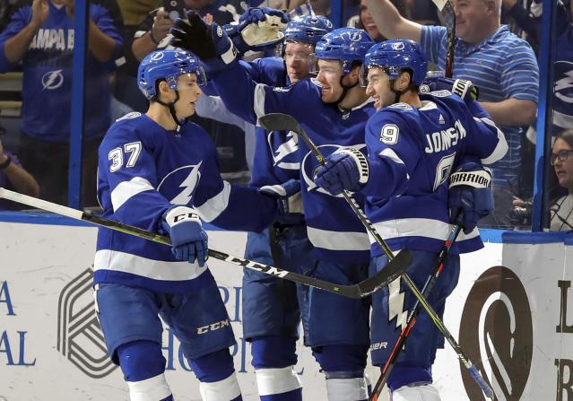 Tampa Bay Lightning's Brayden Point, second from right, celebrates his goal with teammates, from left, Yanni Gourde, Ondrej Palat, and Tyler Johnson during the first period of an NHL hockey game against the Detroit Red Wings Thursday, Oct. 18, 2018, in Tampa, Fla. (AP Photo/Mike Carlson)