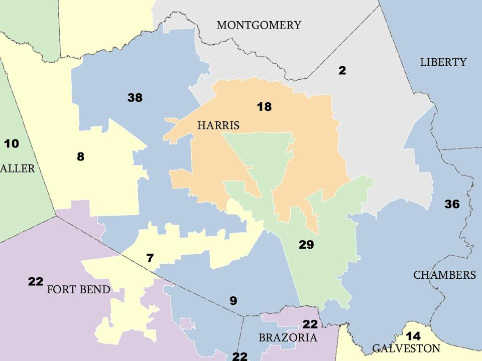 Portion of the proposed maps released today, showing Crenshaw's TX-02 district redrawn.
