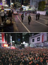 """This combo image shows at top, police direct visitors around Shibuya crossing, a popular location for New Year's Eve gathering, Thursday, Dec. 31, 2020, in Tokyo, and below, people gather to welcome the arrival of the New Year at the crossing in Tokyo Jan. 1, 2020. Tokyo's downtown Shibuya district has canceled its annual countdown event at a popular """"scramble Intersection"""" area outside of its main train station, and a """"countdown vision"""" screen will be turned off at 11 p.m. (AP Photo/Kiichiro Sato and Shohei Miyano/Kyodo News via AP, File) ."""