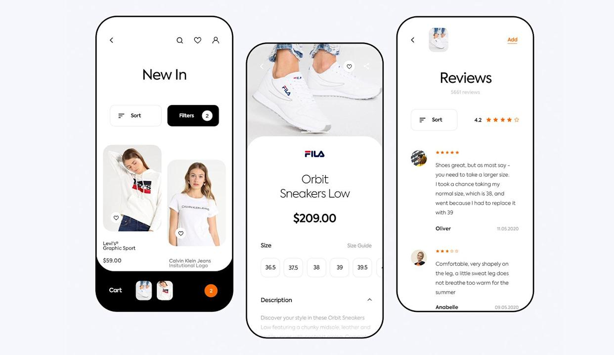 "Devices used in contextual mockups don't need to be overly detailed. (<a href=""https://dribbble.com/patrykpolak"" rel=""nofollow noopener"" target=""_blank"" data-ylk=""slk:Patryk Polak"" class=""link rapid-noclick-resp"">Patryk Polak</a>)"