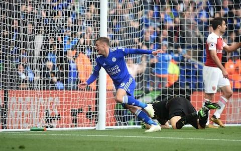 Leicester City's Jamie Vardy celebrates scoring his side's second goal during the Premier League match between Leicester City and Arsenal FC - Credit: CAMERASPORT