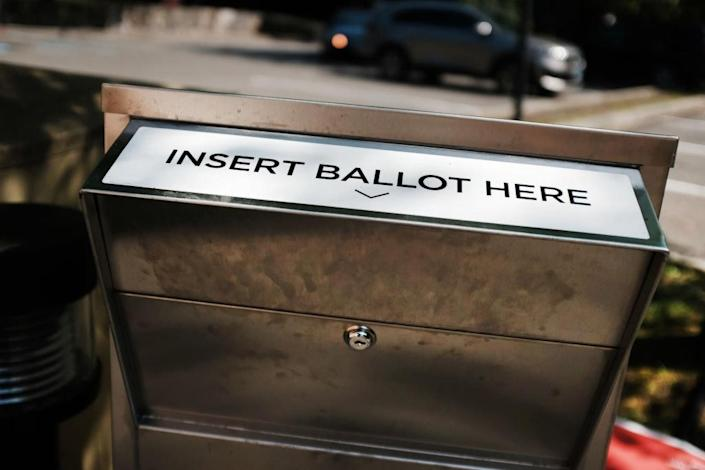 A secure ballot drop box stands at a Stamford library for people to drop off their Connecticut 2020 presidential primary ballots on August 11, 2020 in Stamford, Connecticut. (Photo by Spencer Platt/Getty Images)