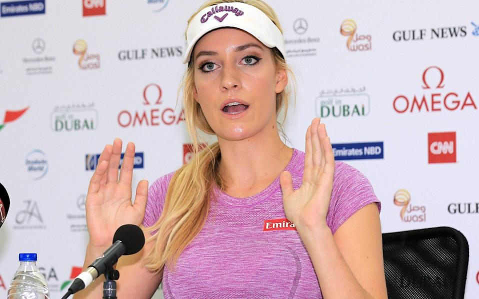 "Former golfer Paige Spiranac defended Justin Thomas, saying he should not be ""cancelled"" - GETTY IMAGES"