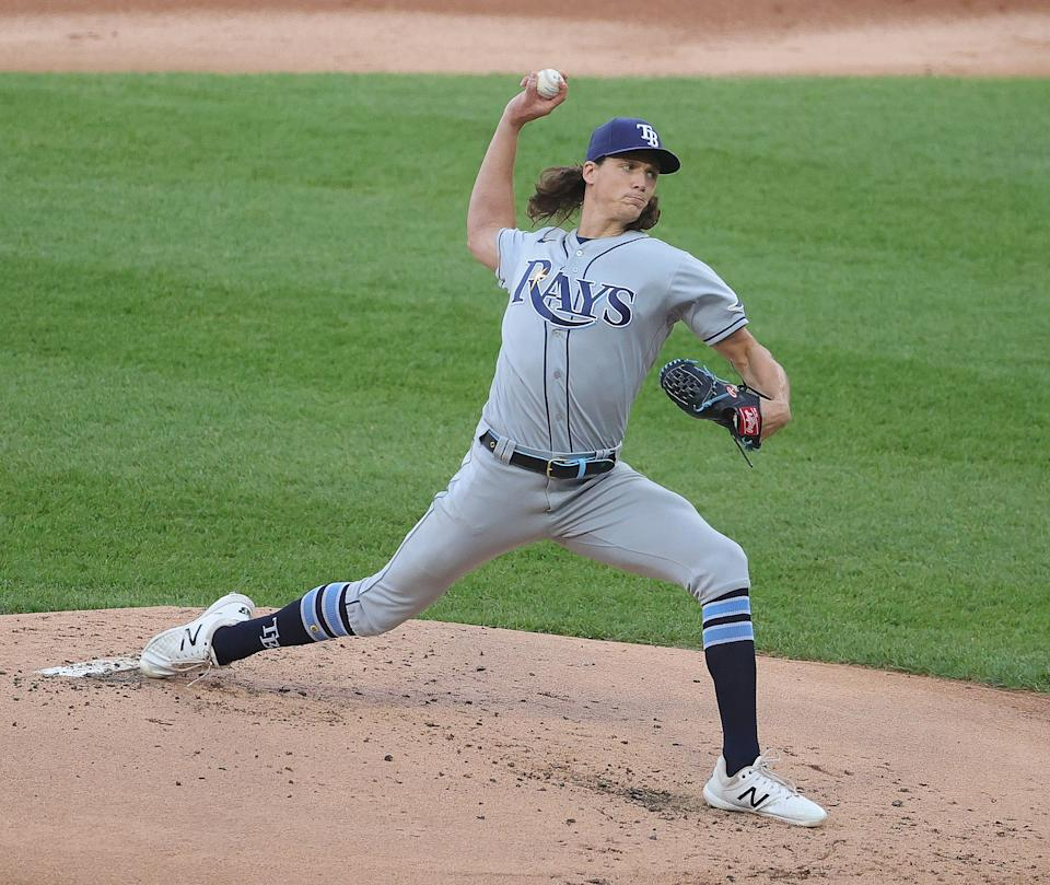 CHICAGO, ILLINOIS - JUNE 14: Starting pitcher Tyler Glasnow #20 of the Tampa Bay Rays delivers the ball against the Chicago White Sox at Guaranteed Rate Field on June 14, 2021 in Chicago, Illinois. (Photo by Jonathan Daniel/Getty Images)
