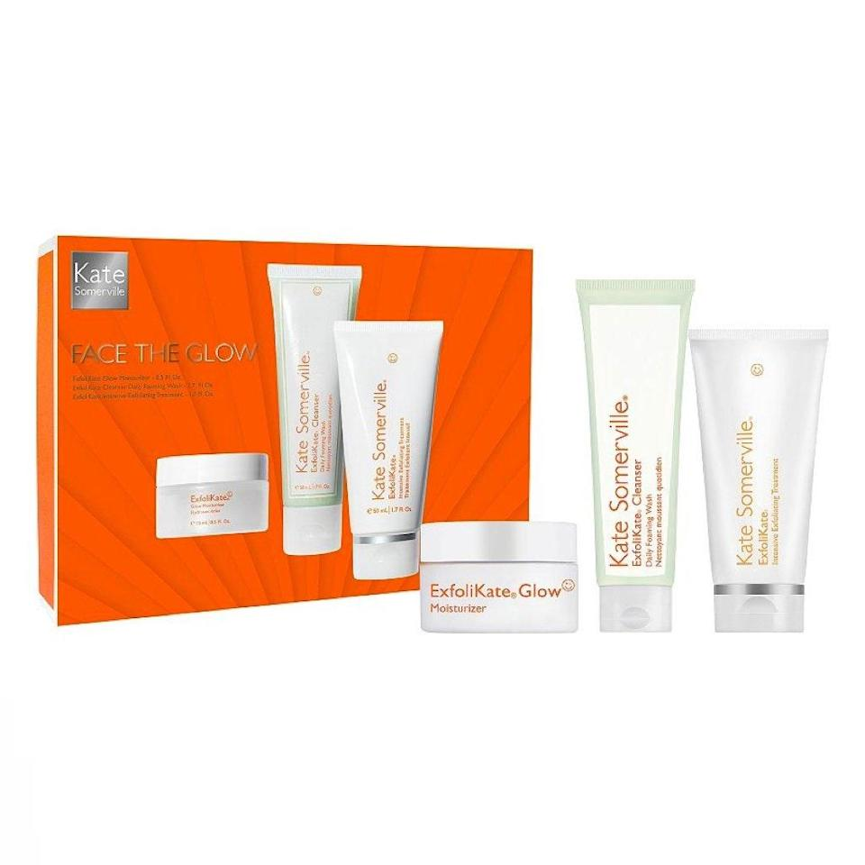 "Dull skin won't stand a chance against this glow-enhancing skin-care set featuring top-rated exfoliators from Kate Somerville. $65, Kate Somerville. <a href=""https://shop-links.co/1719760047502076163"" rel=""nofollow noopener"" target=""_blank"" data-ylk=""slk:Get it now!"" class=""link rapid-noclick-resp"">Get it now!</a>"