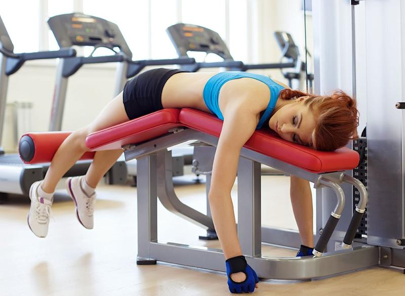 woman tired at gym