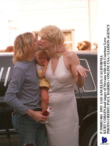 <p>Kurt Cobain with wife Courtney Love in 1993 and their daughter, Frances Bean Cobain. Frances will be 27 this year.</p>