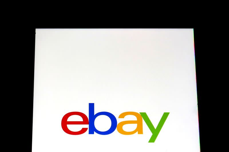 FILE PHOTO: The eBay logo is pictured on a screen in this photo illustration in New York