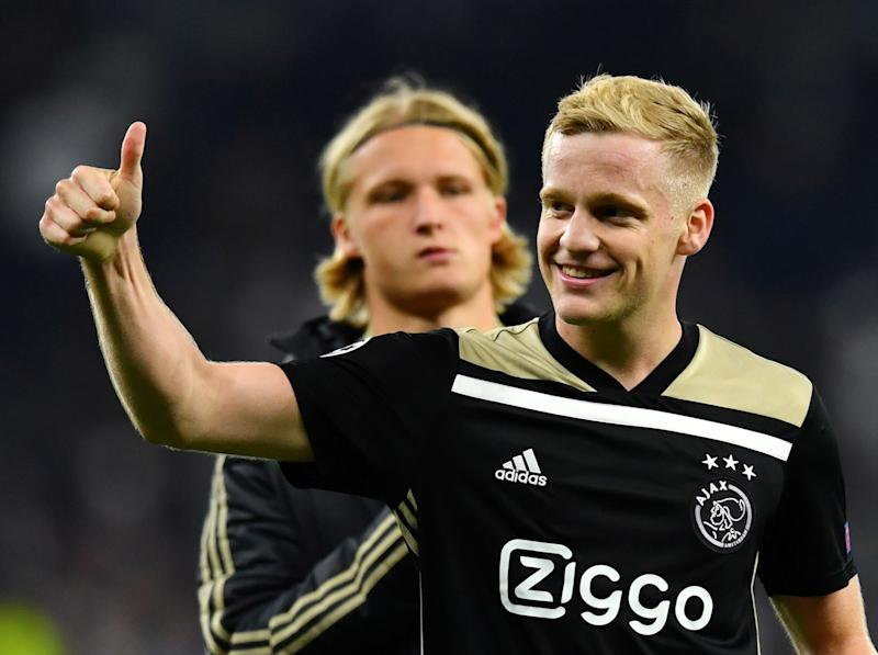 Soccer Football - Champions League Semi Final First Leg - Tottenham Hotspur v Ajax Amsterdam - Tottenham Hotspur Stadium, London, Britain - April 30, 2019 Ajax's Donny van de Beek celebrates after the match REUTERS/Dylan Martinez