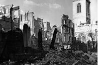 <p>A view showing St. Mary's, Aldermanbury, surrounded by buildings that had been devastated by the Luftwaffe's incendiary bombing blitz during WWII. </p>