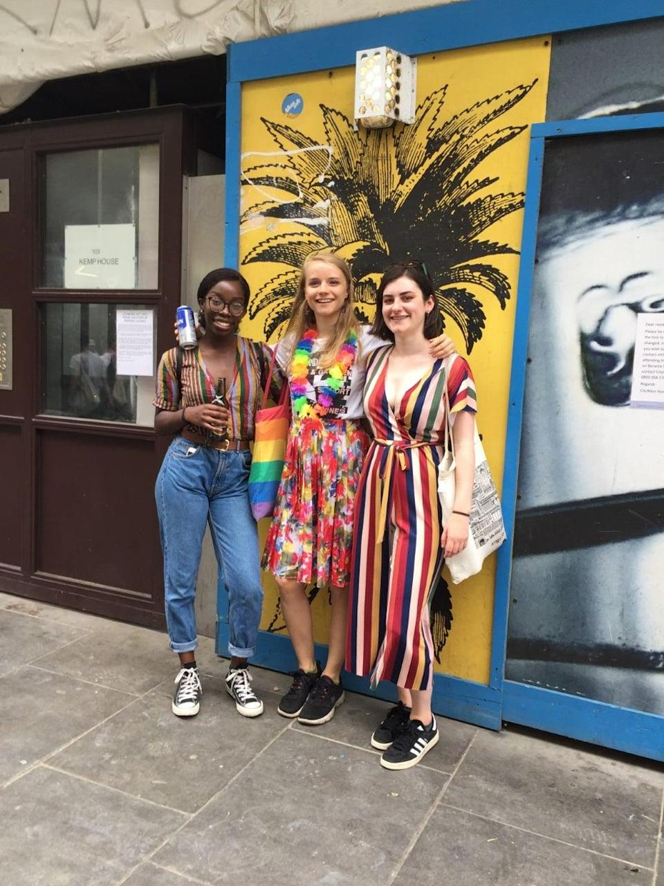 Glue of the group: Busayo Agbetuyi, with friends Gaia and Roisin McLoughlin (Supplied)