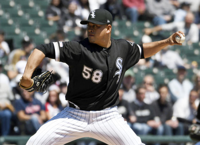 Chicago White Sox starter Manny Banuelos pitches against the Cleveland Indians during the first inning of a baseball game, Tuesday, May 14, 2019, in Chicago. (AP Photo/David Banks)