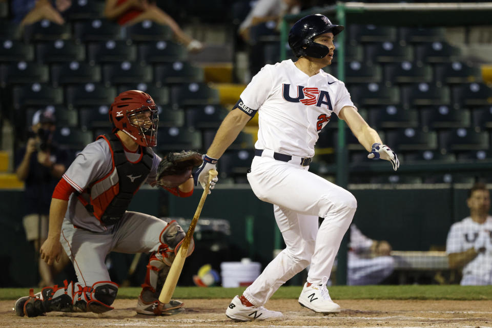 VERO BEACH, FL - MAY 26: Triston Casas #26 of Team USA bats during the Olympic Qualifiers Exhibition against Team Canada at Jackie Robinson Training Complex on Wednesday, May 26, 2021 in Vero Beach, Florida. (Photo by Rhona Wise/MLB Photos via Getty Images)