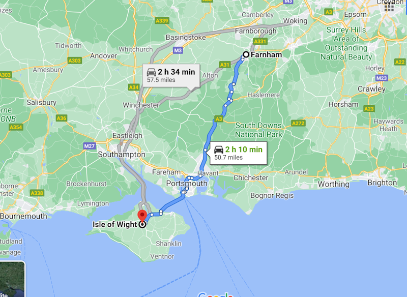 Google Maps screengrab of the 100-mile round trip key worker Martin Baker was forced to take for a coronavirus test on the Isle of Wight