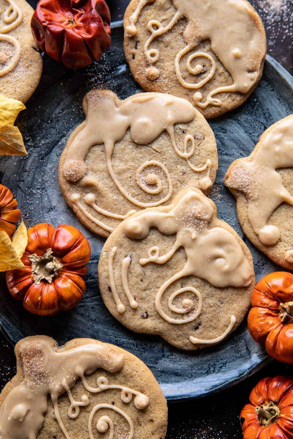 """<p>Whether you prefer cut-out cookies or slice-and-bake, you're in luck: Both versions are offered within this one recipe. After Halloween is over, simply forego the pumpkin shape for a seasonal, back-pocket dessert.</p><p><strong>Get the recipe at <a href=""""https://www.halfbakedharvest.com/brown-sugar-maple-cookies/"""" rel=""""nofollow noopener"""" target=""""_blank"""" data-ylk=""""slk:Half Baked Harvest"""" class=""""link rapid-noclick-resp"""">Half Baked Harvest</a>.</strong></p><p><a class=""""link rapid-noclick-resp"""" href=""""https://go.redirectingat.com?id=74968X1596630&url=https%3A%2F%2Fwww.walmart.com%2Fsearch%2F%3Fquery%3Dpumpkin%2Bcookie%2Bcutters&sref=https%3A%2F%2Fwww.thepioneerwoman.com%2Ffood-cooking%2Fmeals-menus%2Fg32110899%2Fbest-halloween-desserts%2F"""" rel=""""nofollow noopener"""" target=""""_blank"""" data-ylk=""""slk:SHOP PUMPKIN COOKIE CUTTERS"""">SHOP PUMPKIN COOKIE CUTTERS</a></p>"""