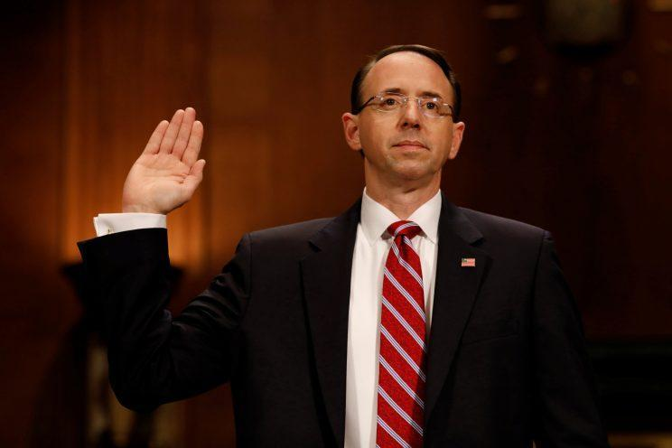 Rod Rosenstein, nominee for deputy attorney general, testifies before the Senate Judiciary Committee on Capitol Hill. (Photo: Aaron P. Bernstein/Reuters)
