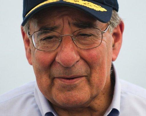 Leon Panetta speaks to the crew of the USNS Richard E. Byrd at Vietnam's Cam Ranh Bay