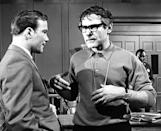 """Director Sam Wanamaker (right) makes a point to series star William Shatner as they prepare for an important scene for Part II of the drama, """"Act of Violence,"""" on """"For the People"""" on CBS-TV on Feb. 28, 1965. (AP Photo)"""