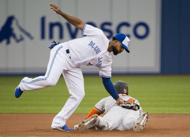 Baltimore Orioles' Jonathan Villar (34) steals second base past Toronto Blue Jays second baseman Richard Urena (7) during inning baseball action in Toronto on Monday, Aug. 20, 2018. (Nathan Denette/The Canadian Press via AP)