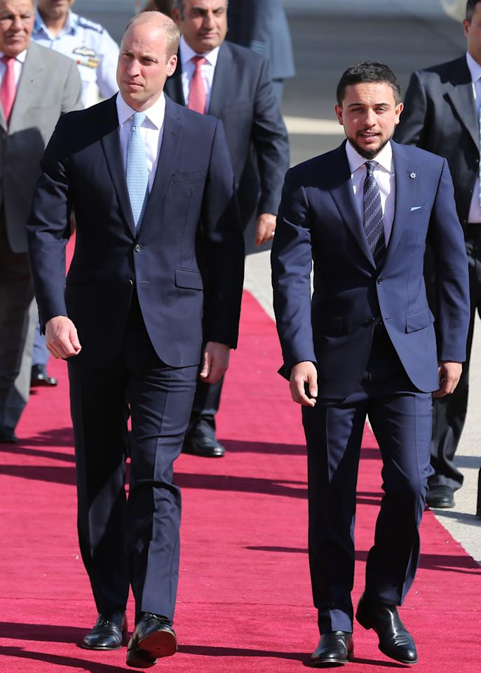 <p>Crown Prince Hussein bin Abdullah is the 23-year-old heir to the Jordanian throne. He was the first person Prince William met when he stepped off the plane in Jordan yesterday as part of his five-day tour of the Middle East. Photo: Getty Images </p>