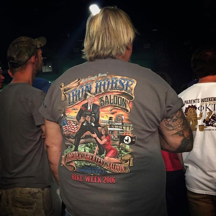<p>A man wears a T-shirt featuring Donald Trump and Sarah Palin at a Trump campaign rally on June 14 in Greensboro, N.C. (Photo: Holly Bailey/Yahoo News) </p>