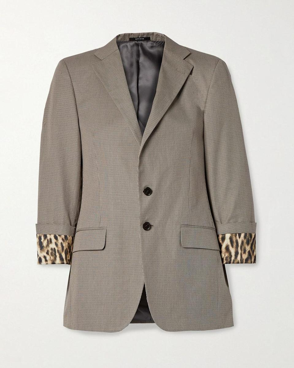 """""""Now that we're vaccinated and slowly phasing back into the office, my closet is craving new work clothes. This blazer is subtle with a touch of leopard print to make you stand out for your grand return to office."""" - <em>JN</em> $1495, Net-a-Porter. <a href=""""https://www.net-a-porter.com/en-us/shop/product/r13/clothing/blazers/silk-satin-trimmed-houndstooth-cotton-blazer/8008779905612566"""" rel=""""nofollow noopener"""" target=""""_blank"""" data-ylk=""""slk:Get it now!"""" class=""""link rapid-noclick-resp"""">Get it now!</a>"""